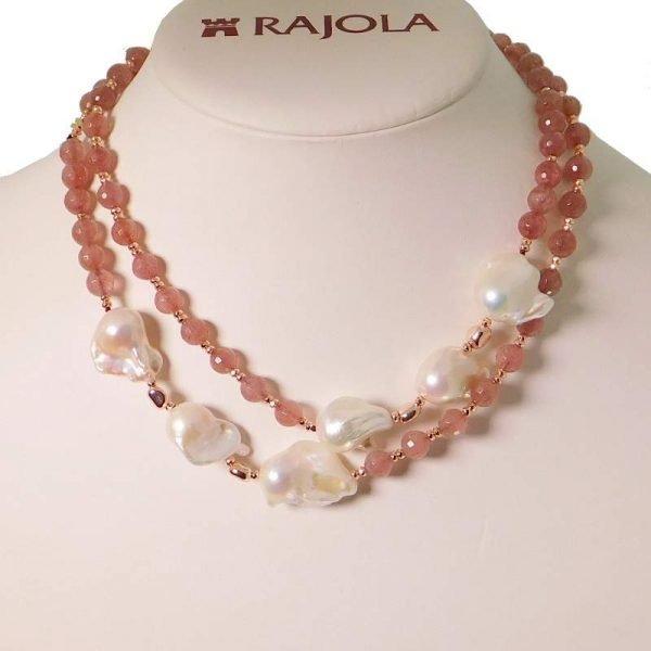 Collana Rajola Vita, agata blu perle ematite rosa e oro. Cm 120. Made in Italy