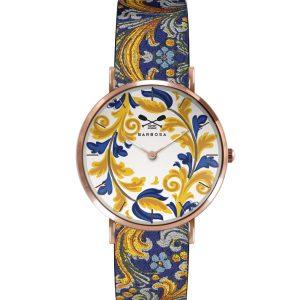 Orologio Barbosa, colore rosè quadrante maiolica giallo e blu cinturino in jacquard. Diametro della cassa 36,5mm.