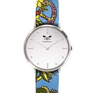 Orologio Barbosa coloreargento. Quadrante bianco con strass e cinturino in jacquard stampa.