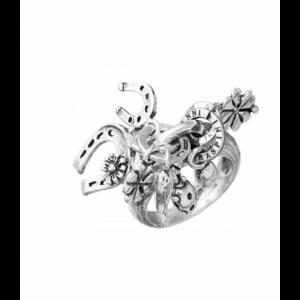 Anello Charms Amuleti Giovanni Raspini, in argento 925% Made in Italy. Disponibile dalla misura 10 alla 20.