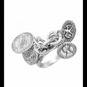 Anello Charms Monete Giovanni Raspini, in argento 925% Made in Italy. Disponibile dalla misura 10 alla 20.