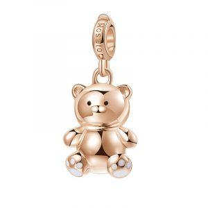ORSACCHIOTTO Non si è mai troppo grandi Charm in argento 925‰, galvanica oro rosa, smalto bianco e nero Significato: Coccola