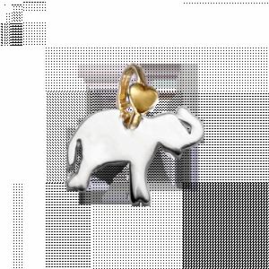 Ciondolo Elefante DOdo Mariani, Disponibile in argento 925°/°° con contromaglia cuoricino in oro 9 kt.